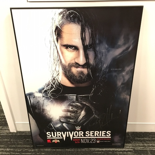 Photo of Seth Rollins SIGNED Framed Foam Survivor Series Poster