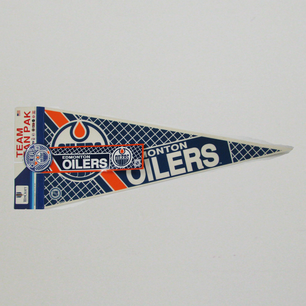 Vintage NHL Official EDMONTON OILERS Fan Pack - Pennant, Bumper Sticker & Badge - NOS