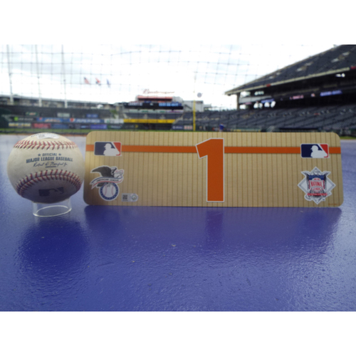 Photo of Game-Used Baseball: Carlos Correa Single to Right Field and Visiting Locker Name Plate #1