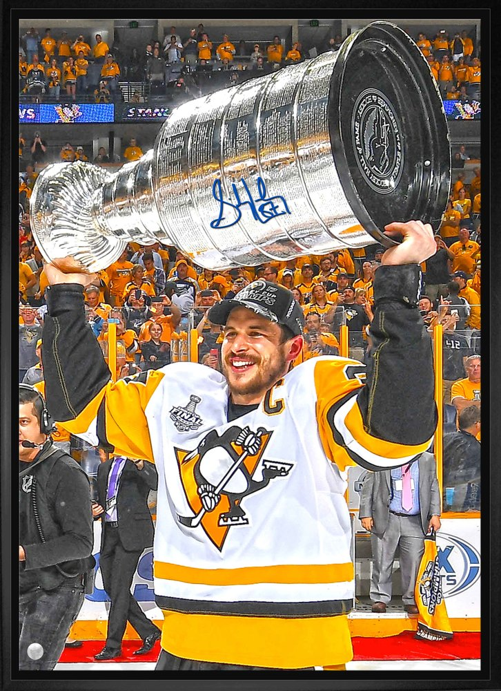 Sidney Crosby - Signed & Framed 20x29 Penguins 2017 Raising Cup Canvas
