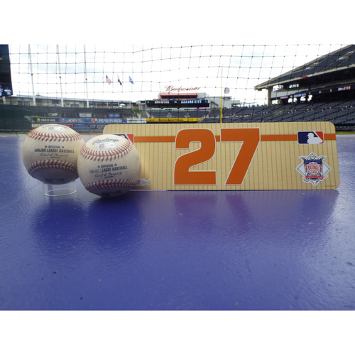 Photo of Game-Used Baseballs: Jose Altuve Single to Left, Single to Right, and Visiting Locker Name Plate #27