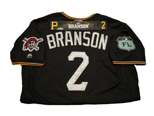 Photo of Jeff Branson Team-Issued Spring Training Jersey and Game-Used Locker Name Plate