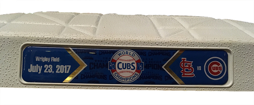Photo of Game-Used 2nd Base -- Used in Innings 5 through 9 -- Cubs vs Cardinals -- 7/23/17