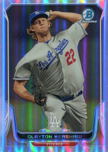 Photo of 2014 Bowman Chrome Refractors #158 Clayton Kershaw 450/500 -- Dodgers post-season