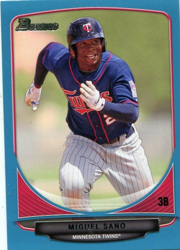 Photo of 2013 Bowman Draft Top Prospects Blue 279/500 Miguel Sano -- Twins post-season