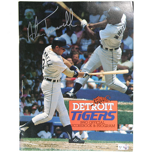 Photo of Detroit Tigers Alan Trammell Autographed 1990 Tigers Game Program