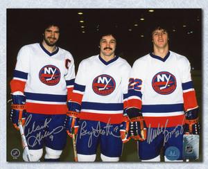 Bossy, Trottier & Gillies NY Islanders Triple Signed Trio Grande 8x10 Photo
