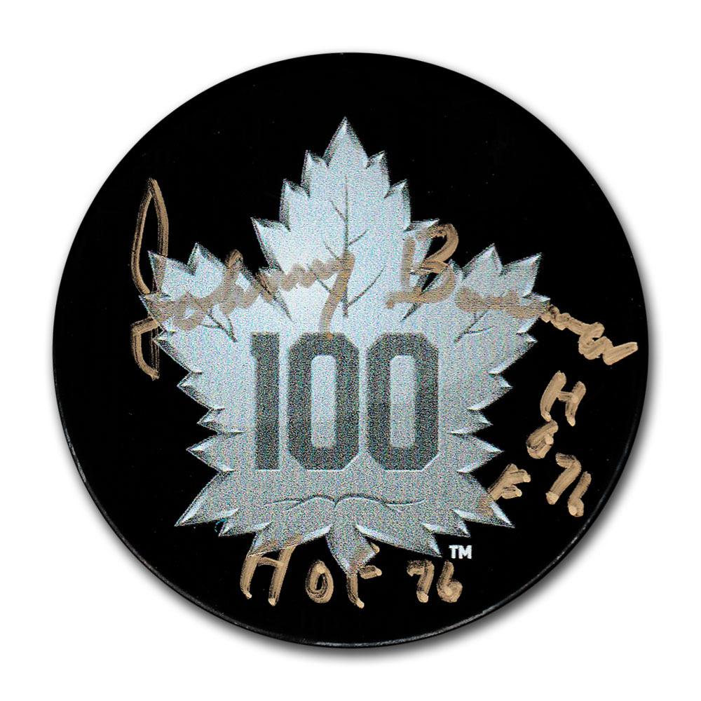 Johnny Bower Autographed Toronto Maple Leafs Centennial Season Puck