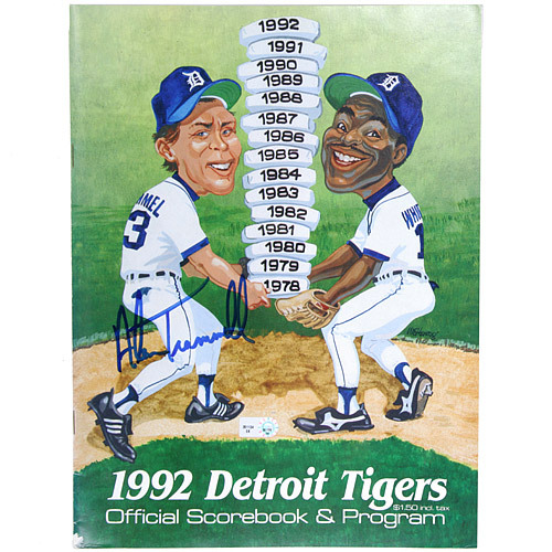 Photo of Detroit Tigers Alan Trammell Autographed 1992 Tigers Game Program