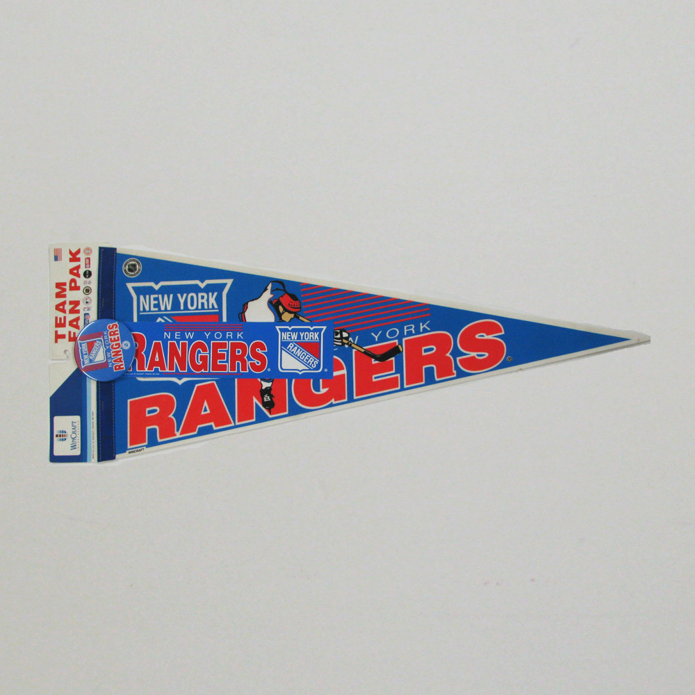 Vintage NHL Official NEW YORK RANGERS Fan Pack - Pennant, Bumper Sticker & Badge - NOS