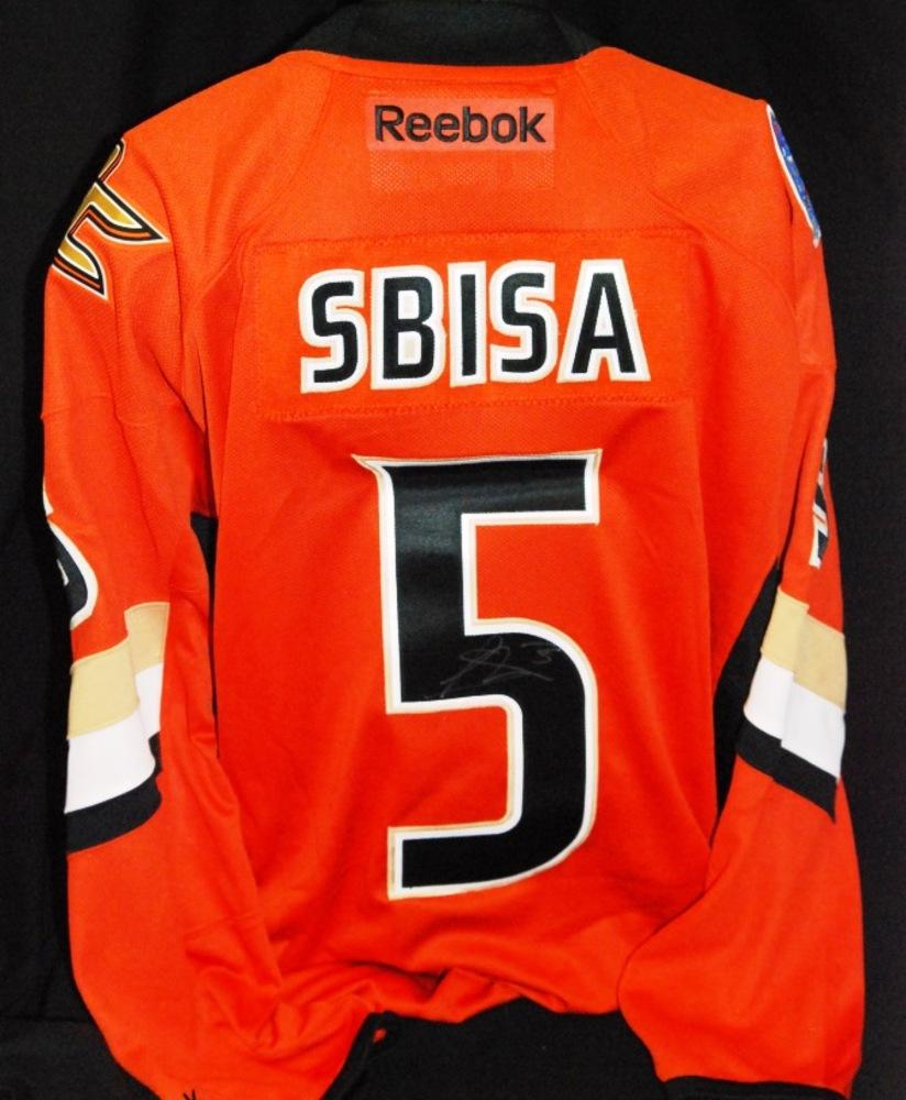 #5 Luca Sbisa Anaheim Ducks 2014 Coors Light NHL Stadium Series  Autographed Replica Jersey