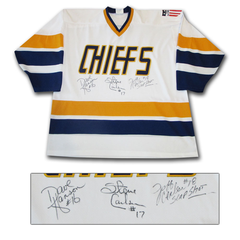 Hanson Brothers Autographed Charlestown Chiefs Jersey - Slap Shot