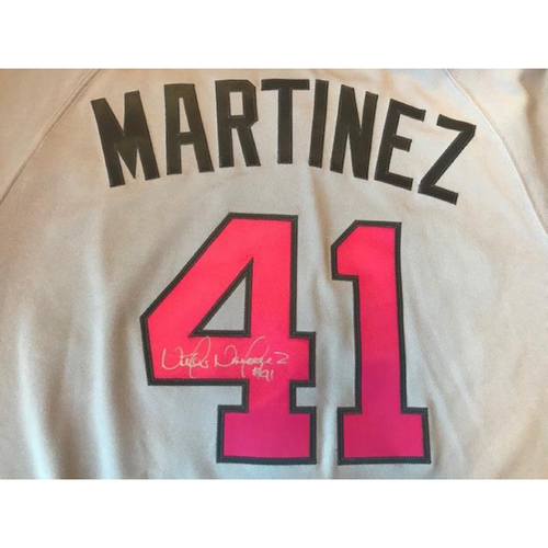Photo of Autographed Team-Issued Mother's Day Jersey: Victor Martinez