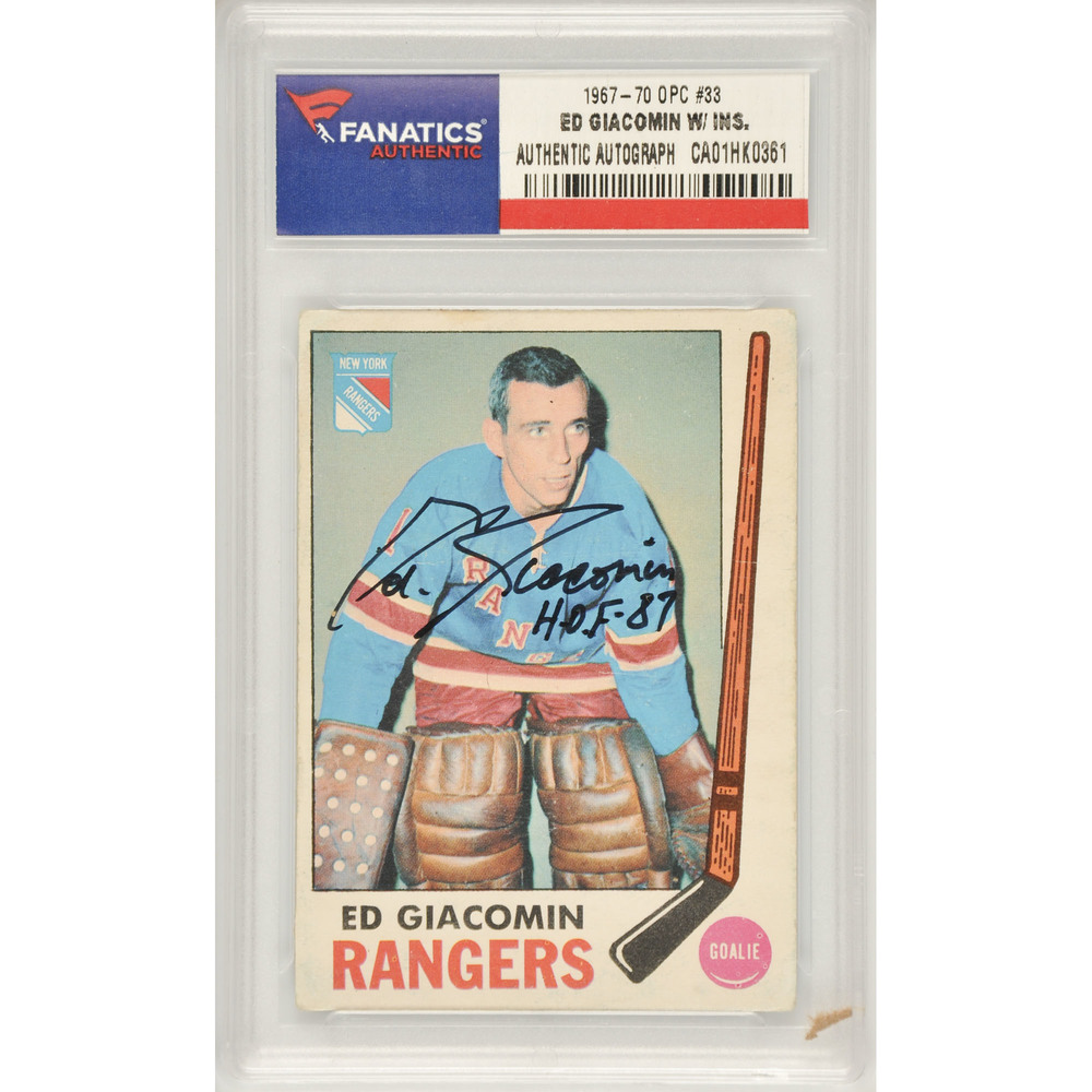 Ed Giacomin New York Rangers Autographed 1967-70 O Pee Chee #33 Card with HOF 87 Inscription