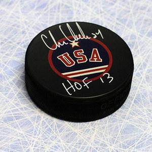 Chris Chelios Team USA Autographed Hockey Puck w HOF note