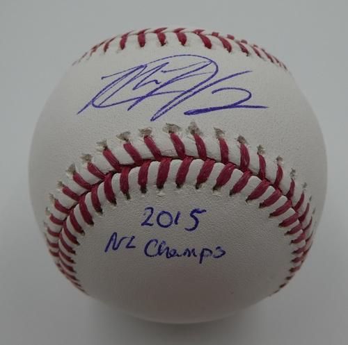 "Photo of Matt Harvey ""2015 NL Champs"" Autographed Baseball"