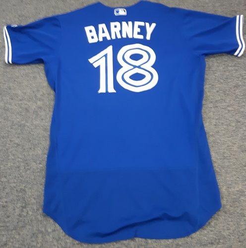 Photo of Authenticated Game Used Jersey - #18 Darwin Barney. July 29, 2017 - 2-for-3 with 1 Double, 1 Run and 1 RBI. September 11, 2017 - 2-for-3 with 1 Double, 1 RBI and 1 Run. Had his swimming slide into Third Base. Size 44.