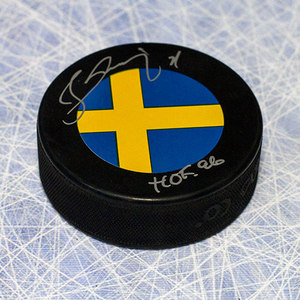 Borje Salming Team Sweden Autographed Hockey Puck with HOF Note *Toronto Maple Leafs*