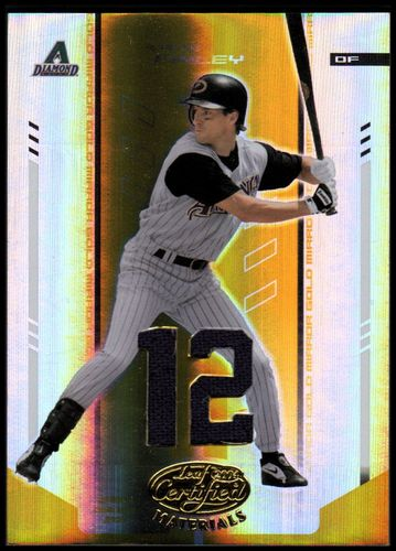 Photo of 2004 Leaf Certified Materials Mirror Fabric Gold Number #179 Steve Finley Jsy