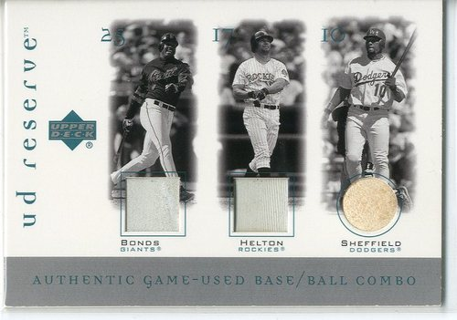 Photo of 2001 UD Reserve Ball-Base Trios #BSH Barry Bonds/Gary Sheffield/Todd Helton