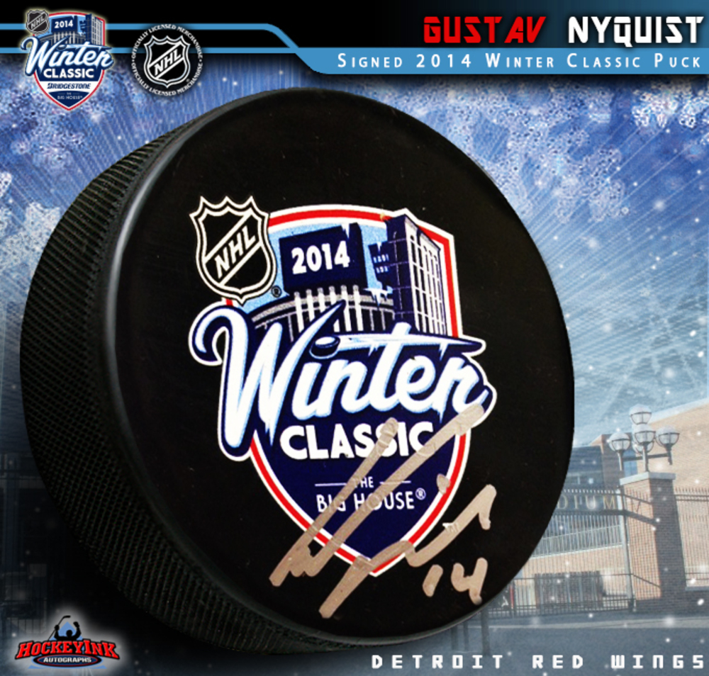 GUSTAV NYQUIST Signed 2014 NHL Winter Classic Puck