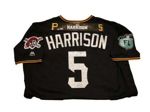 Photo of Josh Harrison Team-Issued Spring Training Jersey and Game-Used Locker Name Plate