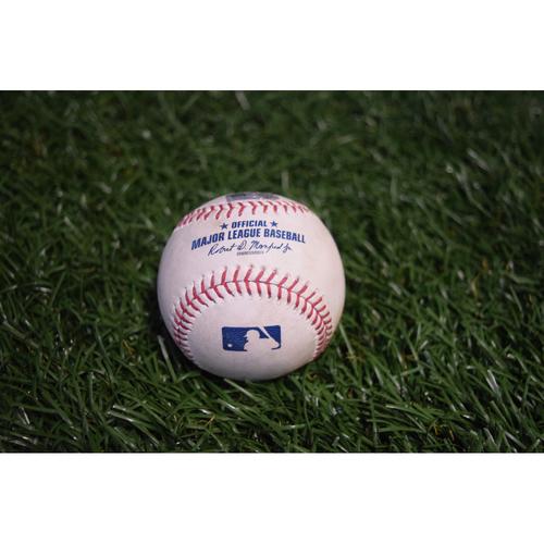 Photo of Game-Used Baseball: Aaron Judge walk and Gary Sanchez single off Jake Odorizzi - 9/11/17 at Citi Field v NYY
