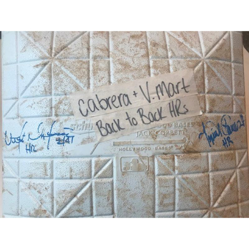 Photo of Autographed Game-Used Base: Miguel Cabrera & Victor Martinez Back-to-Back Home Runs