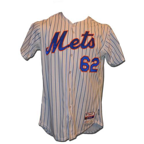 Photo of Erik Goeddel #62 - Game Used White Pinstripe Jersey - 1.0 Innings, 3 K's - Mets vs. Nationals - 10/3/