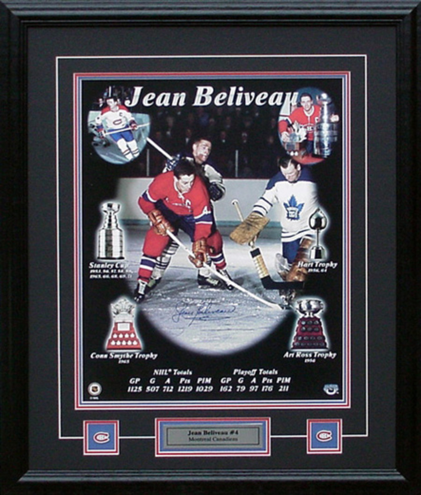 Jean Beliveau Signed 16x20 Framed Heritage Collage
