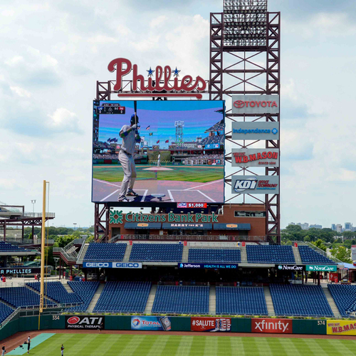 Photo of Video Game Party at Citizens Bank Park on PhanaVision with Phillies Outfielders Michael Saunders and Aaron Altherr