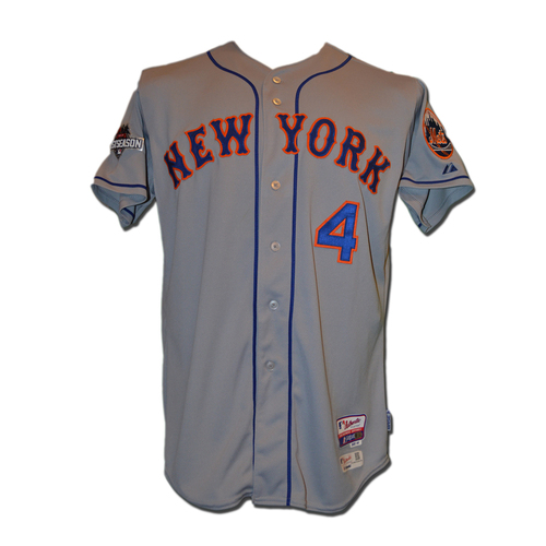 Photo of Wilmer Flores #4 - MLB Authenticated Team Issued 2015 Postseason Jersey - 2015 Postseason Patch on Right Sleeve
