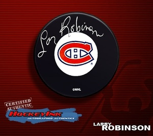 LARRY ROBINSON Signed Montreal Canadiens Hockey Puck