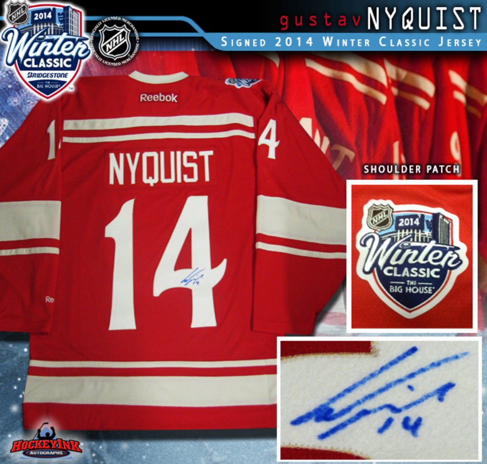 GUSTAV NYQUIST Signed 2014 NHL Winter Classic Detroit Red Wings Reebok Jersey