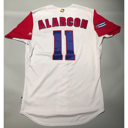 Photo of 2017 WBC: Cuba Game-Used Home Jersey, Alarcon #11
