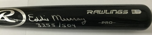 "Photo of Eddie Murray Autographed ""3255/504"" Black Rawlings Pro Bat"