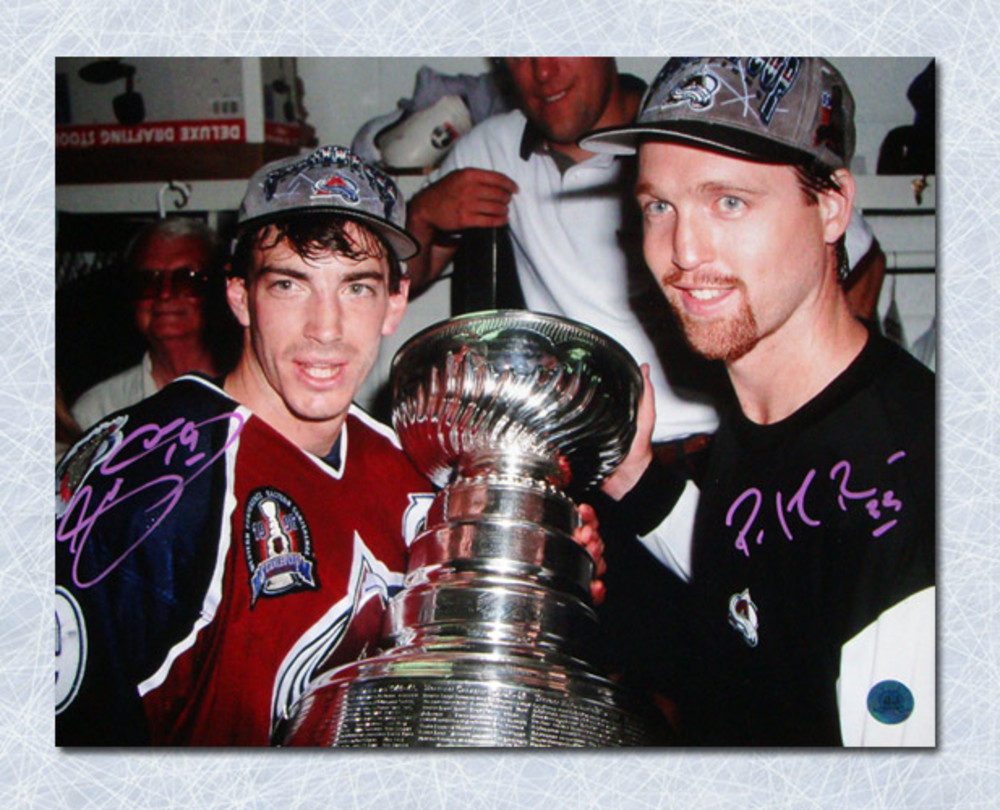 Joe Sakic & Patrick Roy Colorado Avalanche Dual Signed Stanley Cup 11x14 Photo