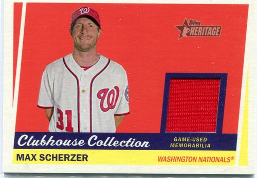 Photo of 2016 Topps Heritage Clubhouse Collection Relics game worn jersey Max Scherzer
