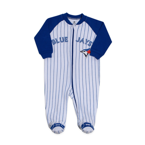 Toronto Blue Jays Newborn Pinstripe Sleeper White/Royal by Snugabye