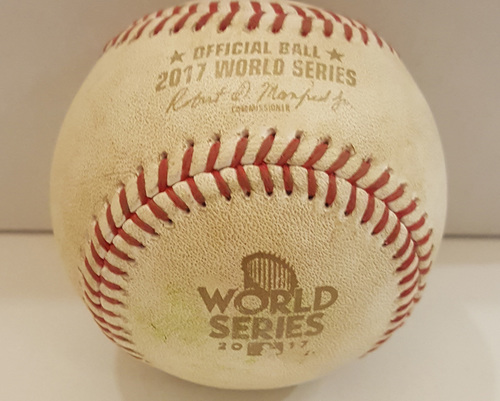 Photo of 2017 World Series Game-Used Baseball - Game 7: Batters - Jose Altuve, Carlos Correa, Yuli Gurriel, Pitcher - Clayton Kershaw - Top 3, Altuve Flies Out, Correa Flies Out, Gurriel Ball