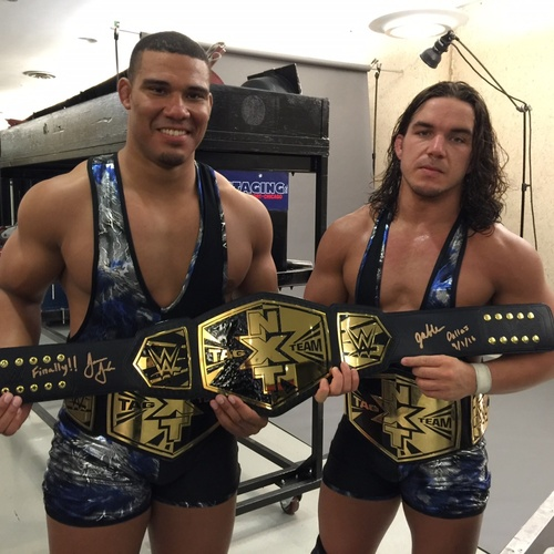 Photo of Jason Jordan & Chad Gable SIGNED NXT Tag Team Championship Replica Title (NXT TakeOver: Dallas)