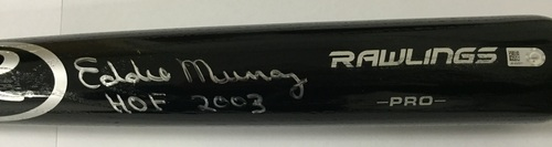 "Photo of Eddie Murray Autographed ""HOF 2003"" Black Rawlings Pro Bat"