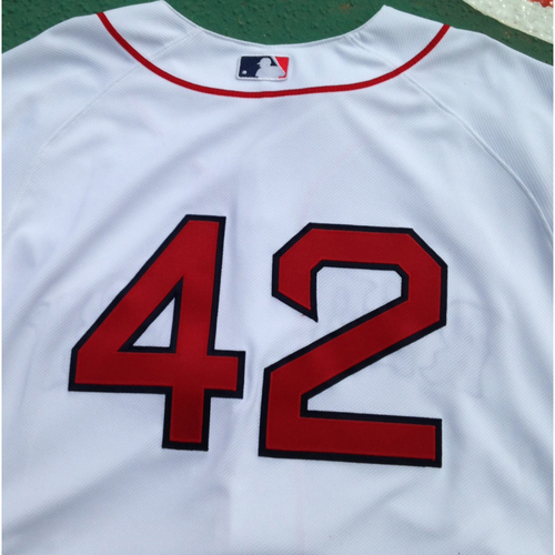 Photo of Red Sox Jackie Robinson Day Jersey - Pomeranz Game-Used and Autographed Jersey