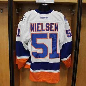 Frans Nielsen - Game Worn Away Jersey - 2015-16 Season - New York Islanders