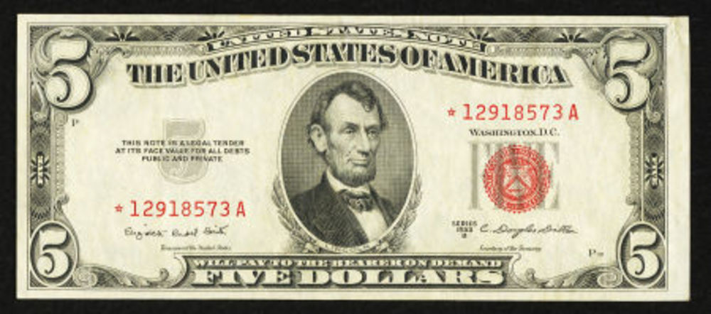 US $ 5.00 Legal Tender Note with a Red Treasury Seal