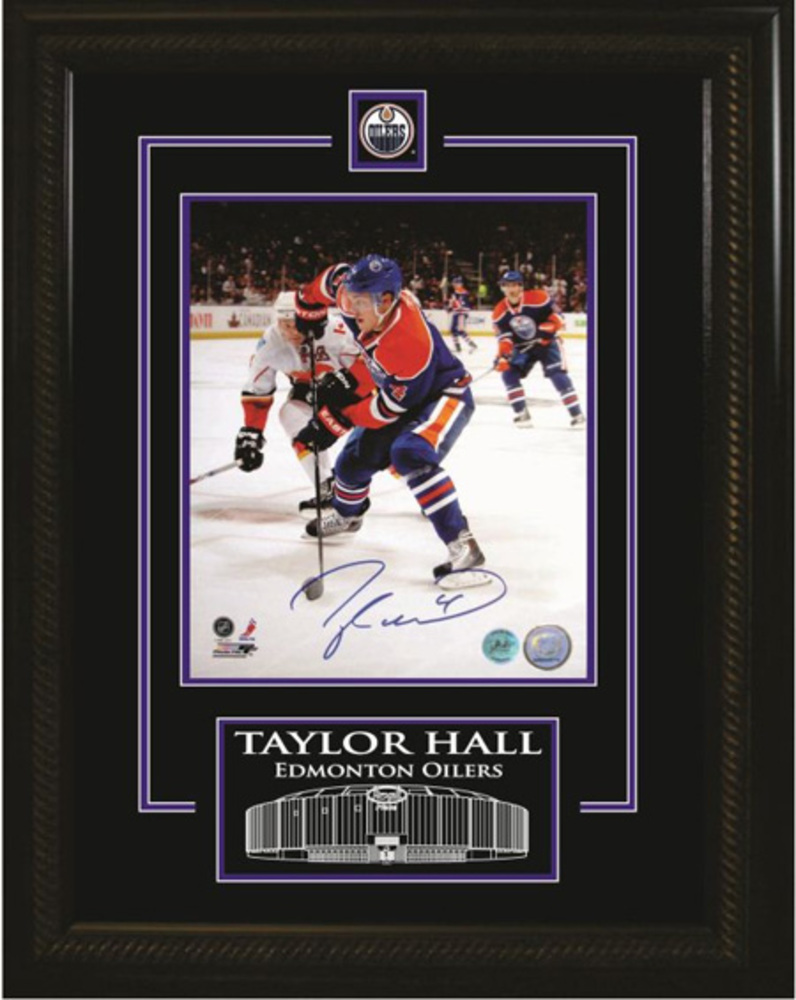 Taylor Hall SIgned 8x10 Etched Mat Oilers Vertical Dark Action