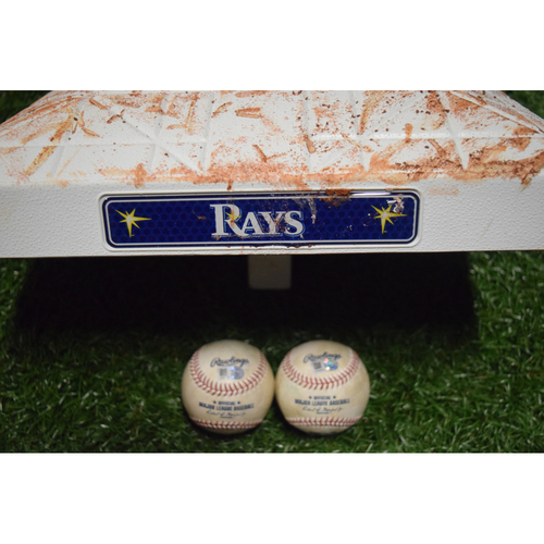 Photo of Game-Used Base and Baseball - September 25, 2016 - David Ortiz's Final Game a Tropicana Field