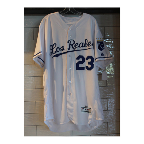 Photo of Game-Used Mike Jirschele Los Reales jersey (6/24/17 TOR at KC) (Size 50)