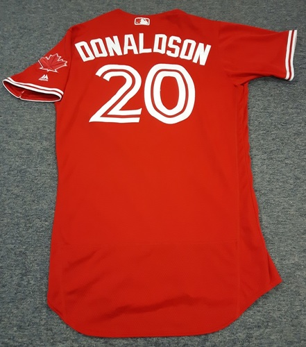 Photo of Authenticated Game Used Jersey - #20 Josh Donaldson. May 28, 2017 - 0-for-4. June 4, 2017 - 1-for-4 with 1 HR, 1 Run and 1 RBI. July 1, 2017 - 0-for-4. Size 44.