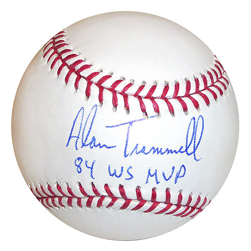 Photo of Detroit Tigers Alan Trammell Autographed Baseball with 84 WS MVP Ins